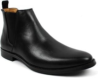 Jaxson Men's Ankle Dress Boots Slip On Almond Round Toe Leather Chelsea JX-B1851A