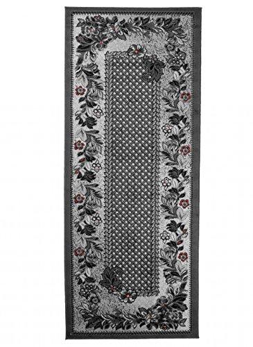 Carpeto Klassisch Läufer Teppich Grau 80 x 500 cm Ornamente Muster Kurzflor Monaco Kollektion