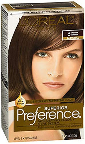 L'Oreal Superior Preference Permanent Hair Color, 5 Medium Brown 1 ea (Pack of 2)