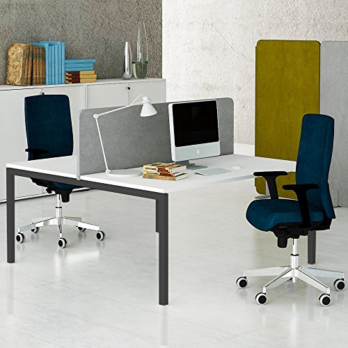 Weber Büroleben GmbH NOVA 2er Gruppenarbeitsplatz Weiß Team Bench Schreibtisch Doppel-Arbeitsplatz, Gestellfarbe:Anthrazit