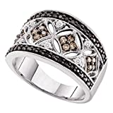 Sonia Jewels Size 8-14k White Gold Round Black Chocolate Brown Diamond Band Ring (1/2 Cttw)