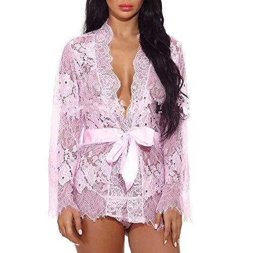 Conqueror Femmes Bow Belt Bandage Chemise De Nuit Lingerie Chemise De Nuit Vêtements De Nuit Robe De Dentelle Sexy Lingerie Sexy de Pyjama Femme Body Dos Nu Lingerie Sexy Nuisette