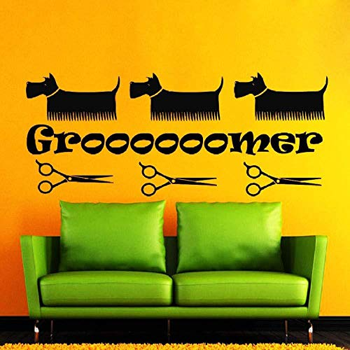 Beauty Salon Wandaufkleber Pet Shop Hund Schere Kämme Dekorative Vinyl Wandtattoos Tattoo Tapeten Wandkunst Aufkleber Dekor Persönlichkeit 89x35cm