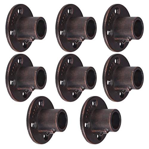 GoYonder - Flangia da Parete da 1,9 cm, Confezione da 8 Pezzi, Colore: Nero, Flangia per Tubo in Bronzo, Confezione da 8