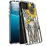 for LG K92 5G Case,for LG K92 5G Phone Case, BEROSET Dual Layer Hard Acrylic Back + Soft TPU Case Shockproof High Impact Protective Clear Phone Case for LG K92 5G 2021,Sunflower Flag and Elephant