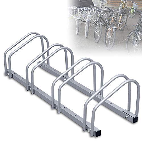 wolketon Fahrradständer für 4 Fahrräder, Mehrfachständer Wandmontage Boden, Stahl 26 x 100 x 32 cm