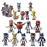 Figura Sonic 9 unids/set figura grande + 6 unids/set figura pequeña juguete Sonic Amy Tails Mephiles...