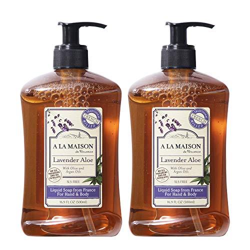 A La Maison de Provence Liquid Hand Soap | Lavender Aloe Scent | French Milled Moisturizing Natural Hand Soap | in 16.9 oz. Pump Bottles | (2 Pack)