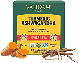 VAHDAM, Organic Turmeric + Ashwagandha SUPERFOOD Herbal Tea, (30 Tea Bags)   USDA Certified India's Ancient Medicine Blend of Turmeric & Garden Fresh Spices   Herbal Detox Tea Bags For Immune Support