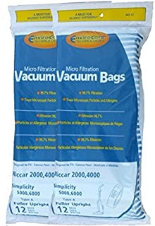 EnviroCare Replacement Micro Filtration Vacuum Cleaner Dust Bags for Riccar 2000, 4000 and Vibrance Series. Simplicity 5000, 6000 and Symmetry Type A 24 Bags