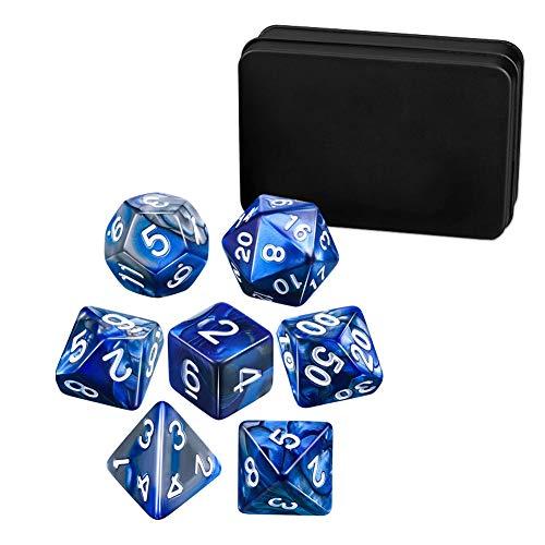 HonesThing trpg ダイス 7個 多面体サイコロ 高品質収納用アイアンボックスが付き クトゥルフ神話 、TRPG カードゲーム、 知育、 教育などに適用 (青・銀)