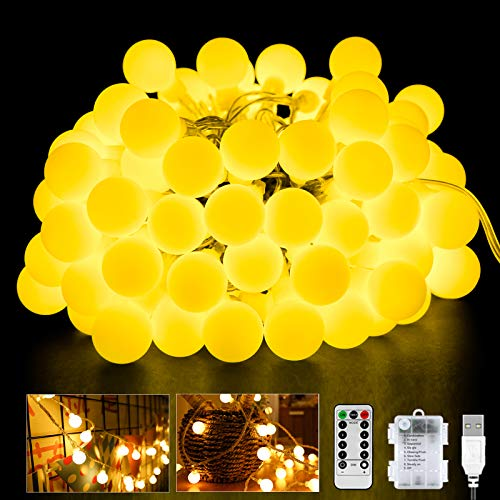 60LED Kugel Lichterkette, 6M 8 Modi Globe Lichterkette mit Timer/Batteriebetrieben/USB Stecker für Innen und Außen, ideale Partylichterkette für Weihnachtsdeko, Hochzeit, Party usw…