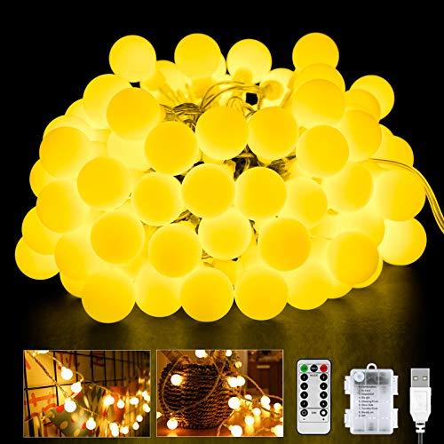 Cadena de luces con 60 ledes, 6 m, 8 modos, con temporizador, funciona con pilas, conector USB para interior y exterior, ideal para decoración de Navidad, bodas, fiestas, etc.