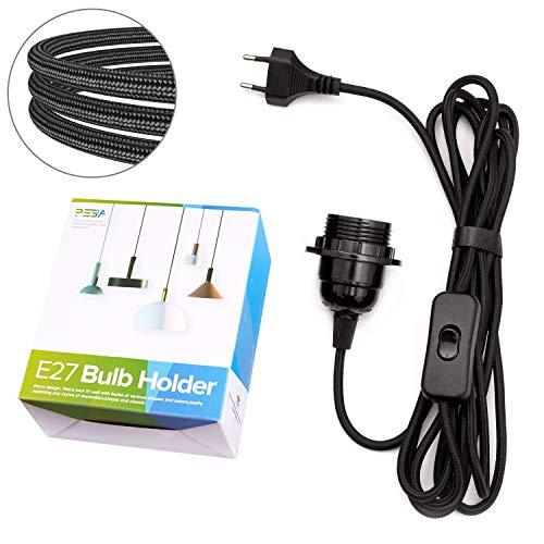 E27 Lampenfassung mit Schalter und Stecker E27 Fassung mit 4.5m Textilkabel Netzkabel Lampensockel Lampenkabel Schwarz PEBA für Kabel Pendelleuchte Hängeleuchte