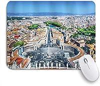 VAMIX マウスパッド 個性的 おしゃれ 柔軟 かわいい ゴム製裏面 ゲーミングマウスパッド PC ノートパソコン オフィス用 デスクマット 滑り止め 耐久性が良い おもしろいパターン (ローマのヨーロッパのサンピエトロ広場イタリア地中海ヨーロッパCitscape Urban Print)