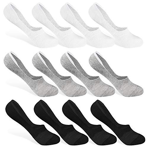 Rovtop 12 Paia Calzini Sportivi Uomo donna,Fantasmini Unisex Sneaker Calze Invisibili in Cotone,on taglio basso Antiscivolo,Eur 35-40(Nero, Bianco, Grigio)