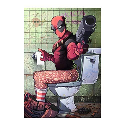 LDTSWES Houten toilet Marvel Hero uitziende posters Legpuzzels, 500 stukjes Diy puzzel met plat oppervlak, voor huisdecoratie puzzel zonder frame