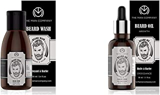 The Man Company Beard Growth Oil - 30 ml (Almond & Thyme) & Beard Mooch and Moustache Wash - 100 ml (Almond and Thyme) Combo