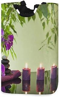 ALARGE Panier à Linge Japonais Zen Stone Bambou Pliable Durable Panier à Linge Panier de Rangement Panier à Linge Panier à...