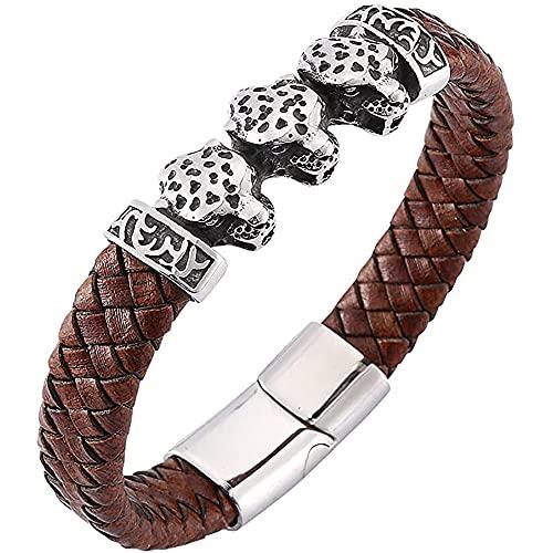 LH&BD Pulsera con Cabeza De Leopardo Trenzada Cuerda Cuero Genuino para Hombre Brazalete Cierre Magnético Acero Inoxidable Negro,Marrón,20CM
