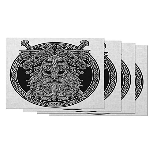 AOYEGO Norse Pdin with Wolf and Swords Placemats Set of 4 Celtic Viking Warrior Black Ring Placemats for Dining Table 12X18 Inch Cotton Linen for Home Kitchen