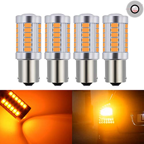 KATUR 4pcs BAU15S 7507 1156PY PY21W 5630 33-SMD Amber 900 Lumens Super Bright LED Turn Tail Brake Stop Signal Light Lamp Bulb 12V 3.6W
