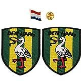 A-ONE 2 + 1 Stück Packung – The Netherlands Den Haag Storch Shield Patch 2 Stück + Nerderland Flagge Pin 1 PC Schraffenhach Ooievaar Patch Länderflagge Revers