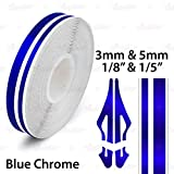 AutoXpress | 1/8' & 1/5' 3mm & 5mm Blue Chrome Roll Pinstriping Styling Trim Coachline Pin Stripe Self Adhesive Line Car Motorcycle Truck Bike Model Vinyl Tape Decal Stickers | 32 ft 9.80m