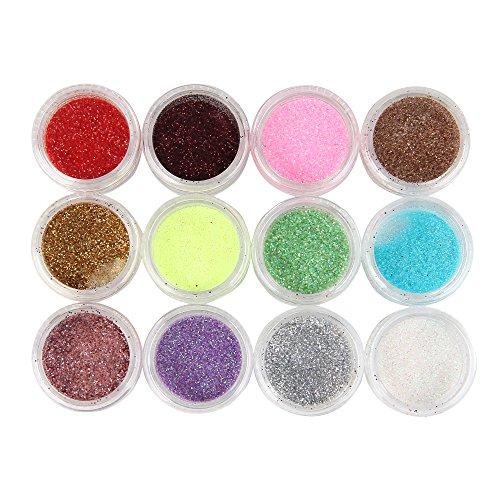 Beauty7 Lot de 12 Pot Paillette Poussiere Glitter Pour Ongle Gel Tips Nail Art Manucure