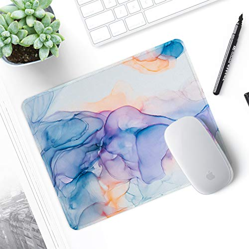 ITNRSIIET Gaming Mouse Pad with Stitched Edges, Premium-Textured Mouse Mat Pad, Non-Slip Rubber Base Mousepad for Laptop, Computer & PC, 10.2×8.3×0.12 inches, Blue Modern Marbling Photo #4