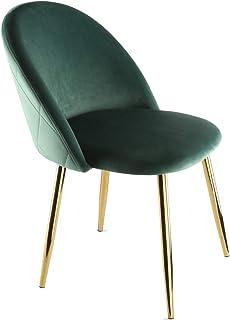 Genesis Metis Silla de tela de terciopelo con patas de tubo de metal cromado dorado (verde bistro)