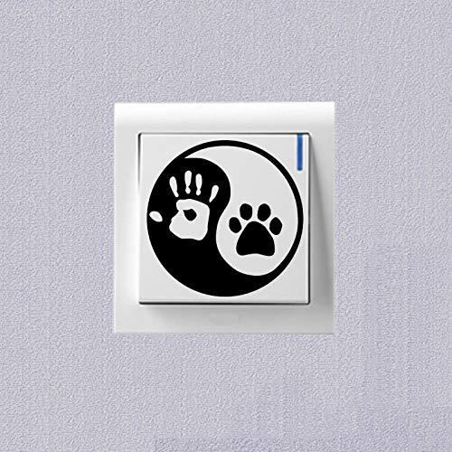 SHMAZ Yin Y Yang Gato Perro Huellas Palma Imprimir Cuaderno Calcomanías Dormitorio Interruptor Pegatina