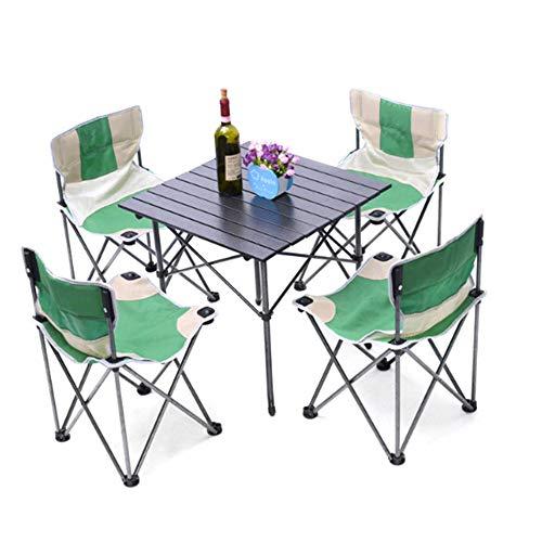Table Pliable Léger extérieur Camp Portable Table Pliante Net Chaises Set w/Sac de Transport, 4 chaises + 1 Table Taille compacte for Le Camping