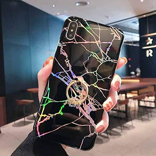 KNGYUTF vintage luidspreker van marmer voor iPhone XS Max XR XS X 6 6S 7 8 Plus zachte telefooncover IMD met ring kickstand pour iPhone 7 plus zwart.