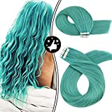 Moresoo Tape in Hair Color Teal Skin Weft Hair Extensions 25g/10pcs Real Human Hair Seamless 16 Inch Double Sided Tape Hair
