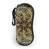 Gafas de sol suave caso ligero portátil 3d impreso vintage Mandala pavo real plumas cremallera gafas caja con clip para cinturón para hombre y mujer