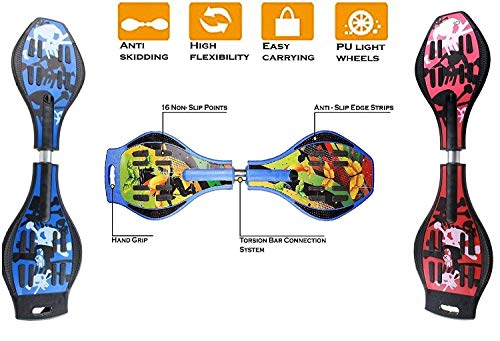 E - Royal Shop Anti Slip Concave Platform Waveboard with 360 Degree Rotating Lights on Alloy Wheels (Multicolour, Medium)