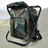 Backpack Cooler Chair, Portable Fishing Chair, Folding Seat 400 LBS Large Capacity Camouflage Bag, Outdoor Gear Camping Stool for Travel, Beach, Hiking, Picnic