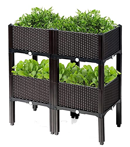 Planter Raised Beds Kits Set of 4, Plastic Elevated Garden beds with Brackets for Flowers Vegetables, Outdoor Indoor Planting Box Container for Garden Patio Balcony Restaurant, Easy Assembly