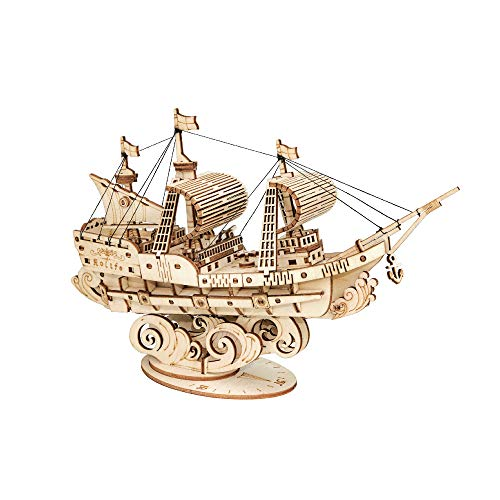 Hands Craft Sailing Ship DIY 3D Wooden Puzzle Model Kit - Laser Cut Wood Pieces, Brain Teaser and...
