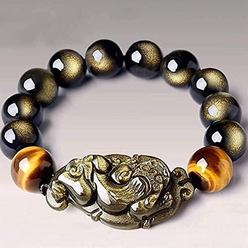 TIANYOU Feng Shui Pulsera de Riqueza Negra Iris Ojos Pixiu Pulsera Perlas Budistas para una Buena Fortuna Valiente Afortunado Y Riqueza, 14 Mm Exquisito / 16MM