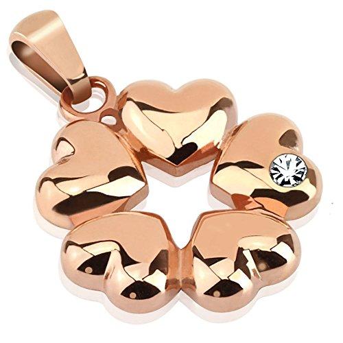 Bungsa® Anhänger 5 Herzen mit Kristall Stein in rosegold rosé Edelstahl (Kettenanhänger Pendant Charm Beads Chirurgenstahl Damen Herren Schmuck Hearts Love)