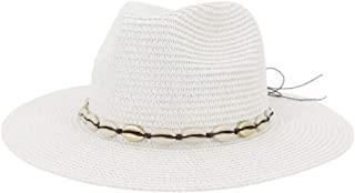Bin Zhang Summer Women Straw Sun Hat Wide Brim Jazz Hat Floppy Panama Hat With Fringed Shell Tape Outdoor Jazz Beach Hat