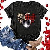 AODONG t Shirts for Women Summer Women Valentines Day T-Shirt Cute Heart Love Graphic Tee Short Sleeve Tops