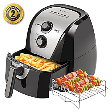 Secura Electric Hot Air Fryer and additional accessories (5.3 Qt)