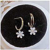 FGFDHJ Pendientes de Gota de pétalo de Flor de Concha Blanca para Mujer, Pendientes Irregulares Dulces Bonitos, Regalo