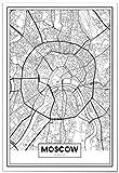 Panorama Poster Karte von Moskau 35 x 50 cm - Gedruckt auf