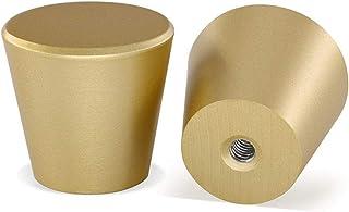 10 Pack Brushed Brass Cabinet Knobs Gold Dresser Knobs-homdiy LS745GD Solid Round Drawer Knobs Gold Knobs for Dresser Draw...