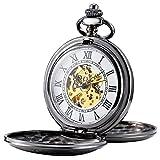 Treeweto, orologio da tasca meccanico da uomo, con scheletro e numeri romani, a metà cacciatore, nero
