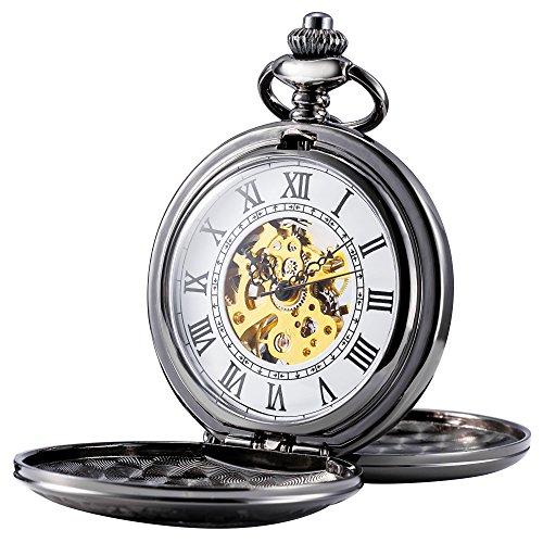 TREEWETO Reloj de bolsillo mecánico para hombre, diseño de esqueleto, números romanos retro, medio cazador, bronce